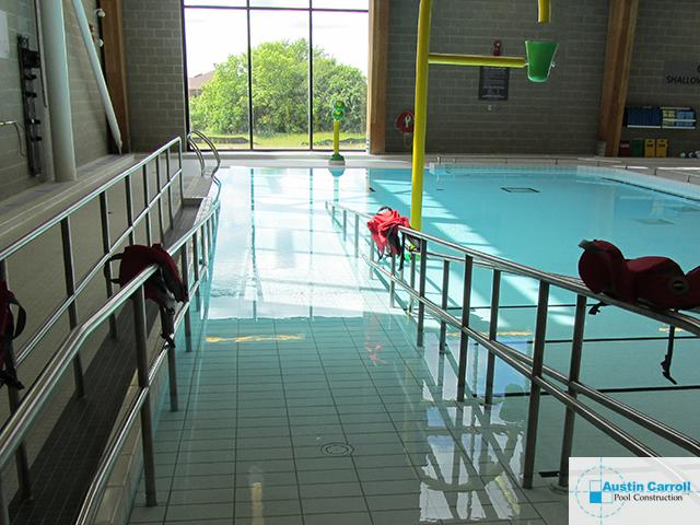 Accessible pool ramps for community pools