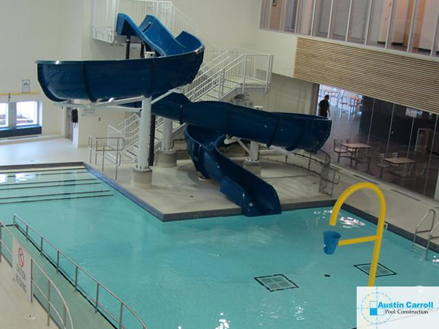 Community Pool Waterslide Installation